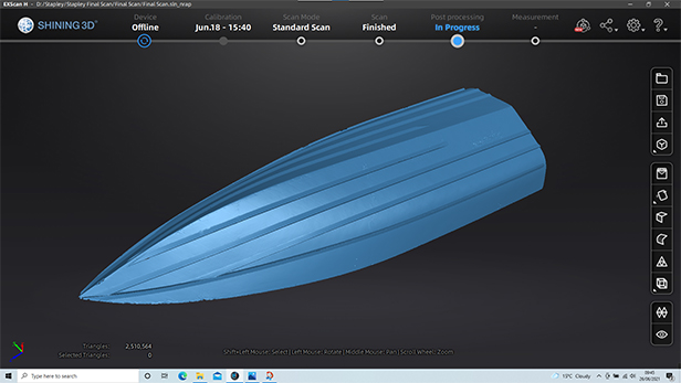 Boat hull in ExScan software